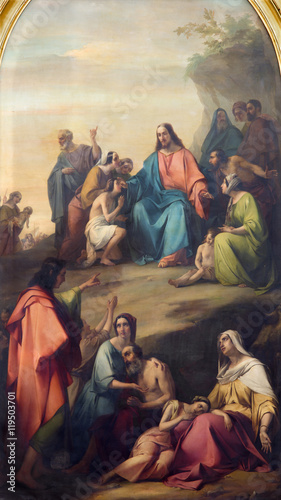 Fototapeta  BRESCIA, ITALY - MAY 22, 2016: The panting of Sermon of Jesus in Duomo Nuovo by