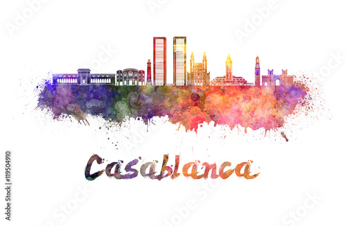 Photo  Casablanca V2 skyline in watercolor