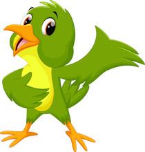 Green Bird Cartoon Waving