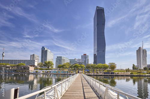 Fotobehang Wenen Financial district in Vienna with Danube river.