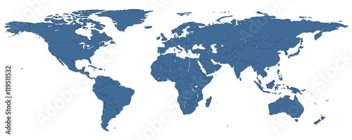Foto op Aluminium Wereldkaart 3D map of the world with country borders