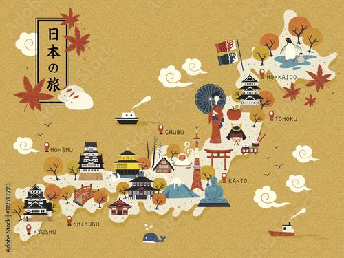 Fotografia  Japanese travel map
