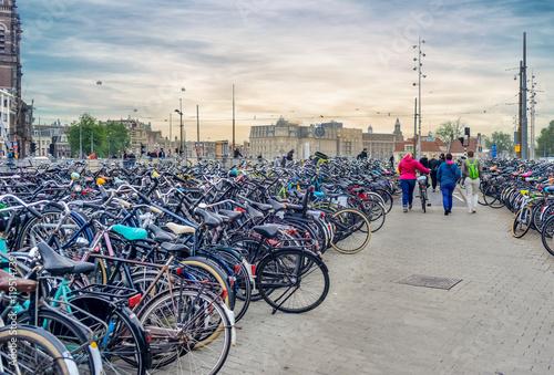 Photo  Urban bike parking lot
