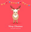 Christmas card with cute deer and garlands
