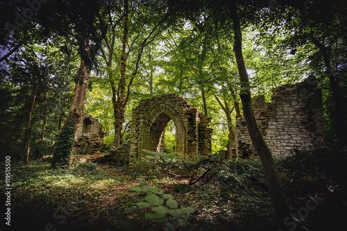 Canvas Prints Road in forest Stone ruins
