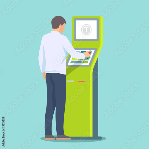 Man using self-service terminal. Vector illustration