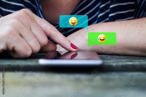woman chat using emoji Poster