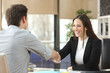 canvas print picture - Businesswoman handshaking with client closing deal
