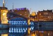 Illuminated bridge, Pont de Lafayette, over the Rhone river in Lyon at dusk...