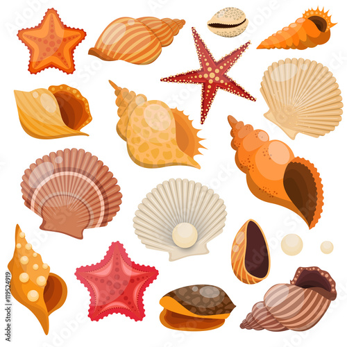 Leinwand Poster Shells And Sea Stars Icon Set
