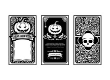 Halloween Card Classic And Vintage Style Design Element Vector I