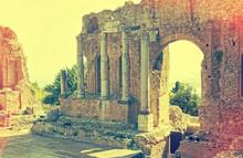 Greek Theatre In Taormina  Sicily, Italy