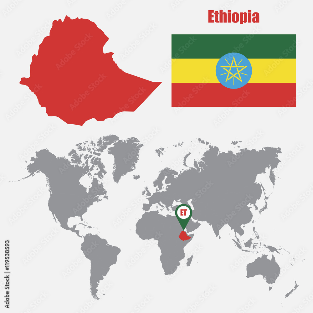 Ethiopia map on a world map with flag and map pointer Foto ...