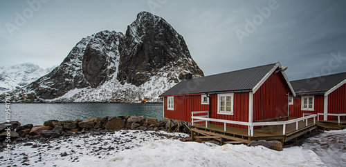 Spoed Foto op Canvas Scandinavië Lofoten islands in winter