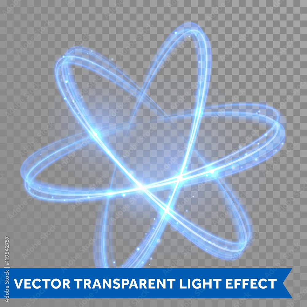 Fototapeta Vector blue neon crossed circles light trail