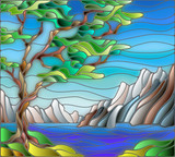 Illustration in stained glass style landscape with a lonely tree on a background of mountains, water and sky