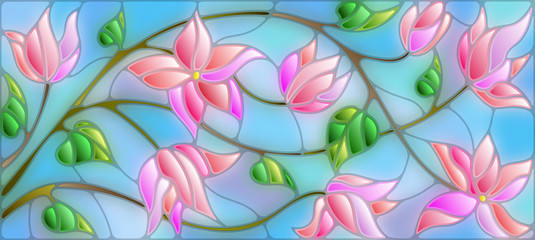 Panel SzklanyIllustration in stained glass style with abstract cherry blossoms on a blue background