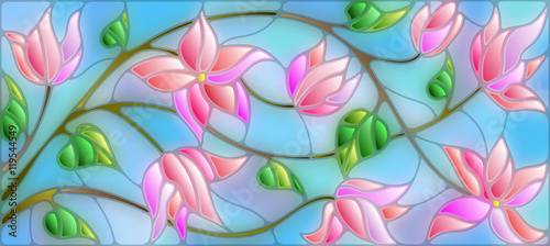 Naklejka kwiaty na szybę  illustration-in-stained-glass-style-with-abstract-cherry-blossoms-on-a-blue-background