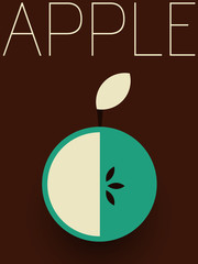Panel Szklany Owoce Vector Retro Apple Illustration