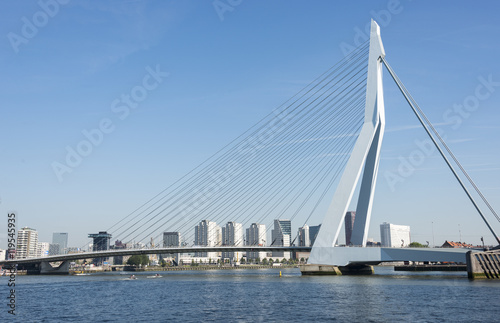 Foto op Canvas Rotterdam Erasmusbridge in the port of Rotterdam city in Holland
