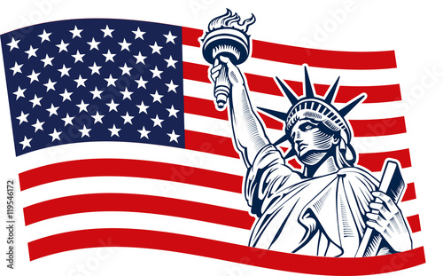 Statue of Liberty, USA,map, flag and symbol – kaufen Sie diese ...