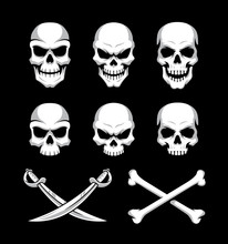 Skull Icons With Crossbones And Sword Symbols