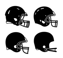 Football Helmet Sports Icon Sy...