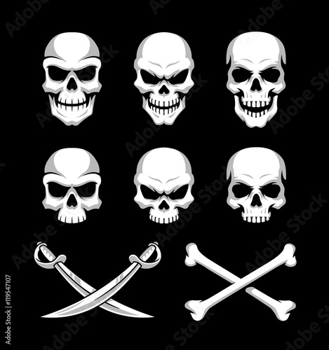 Photo  Skull icons with crossbones and sword symbols