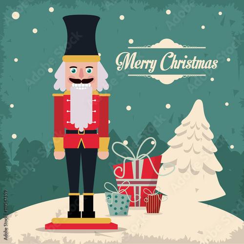 Fotografía  nutcracker gift cartoon vintage merry christmas decoration celebration icon