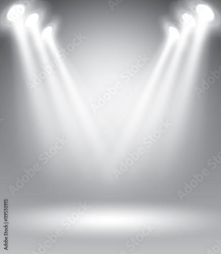 Plakat Oświetlona scena z malowniczych świateł wektor ilustracja szablon reklamy