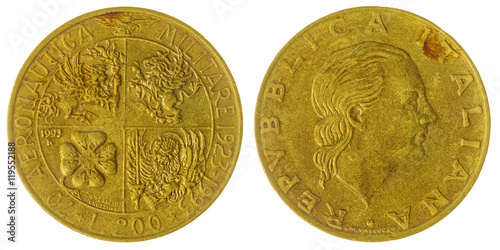 Poster  200 lire 1993 coin isolated on white background, Italy