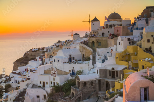 Fototapety, obrazy: the beautiful sunset in Santorini Greece, sea, sunset, white Greek houses in the evening