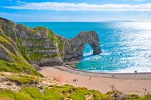 Durdle Door Rock Formation On Jurassic Coast, England