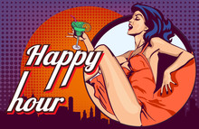 Vector Design Template With Woman Who Drinks Cocktail On The Night City Scape Window View Background