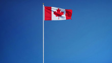 Canada Flag Waving Against Clean Blue Sky, Long Shot, Isolated With Clipping Mask Alpha Channel Transparency, Perfect For Film, News, Digital Composition