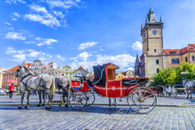Horse-drawn Carriage In Old Town Square In Prague, Czech Republi