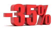 35 Percent Discount 3d Text