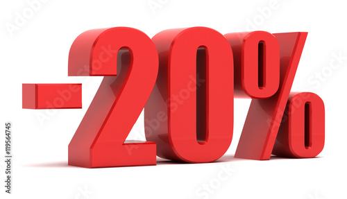 20 percent discount 3d text Canvas Print
