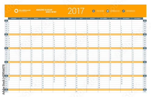 Yearly Calendar Planner Template for 2017 Year. Vector Design Print ...