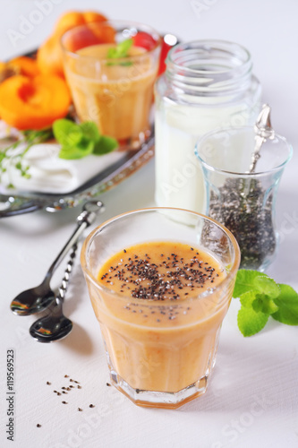 Tuinposter Zuivelproducten Apricot smoothie and chia seeds