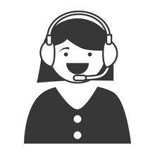 Silhouette Cartoon Woman Call Center Service Isolated Vector Illustration Eps 10