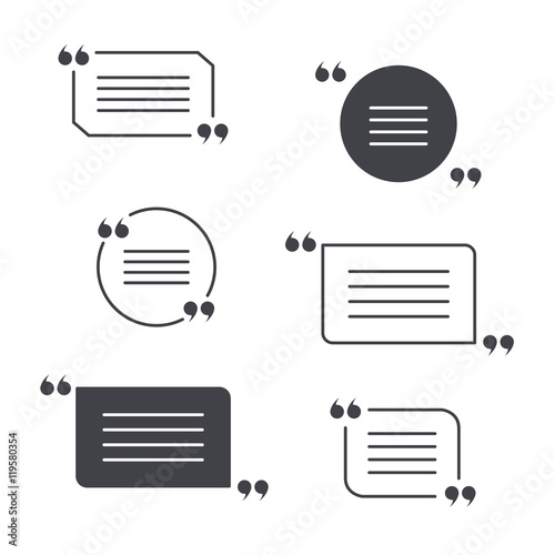 Fotografía  vector set of grey quotation marks isolated on white
