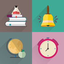 Back To School Flat Icon Set M...