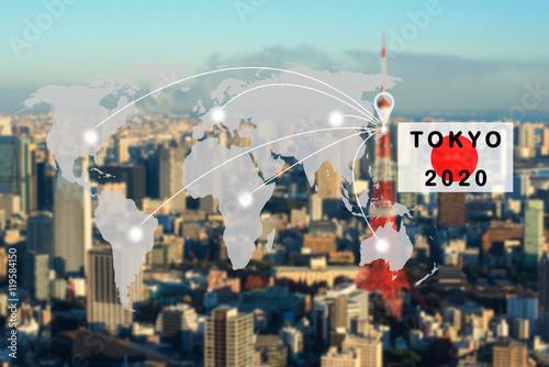 Fotografía  world map connection to Tokyo 2020 concept,tokyo japan