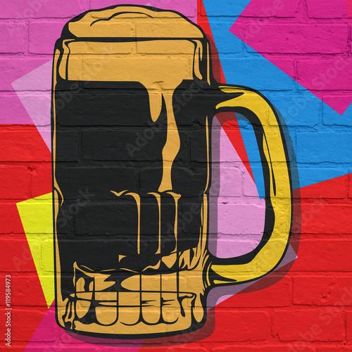 Street art. Chope de bière ...