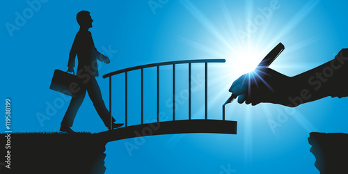Concept de la solution, avec une main qui dessine un pont pour faciliter le franchissement d'un obstacle à un homme d'affaire et l'aider à atteindre son objectif Wallpaper Mural