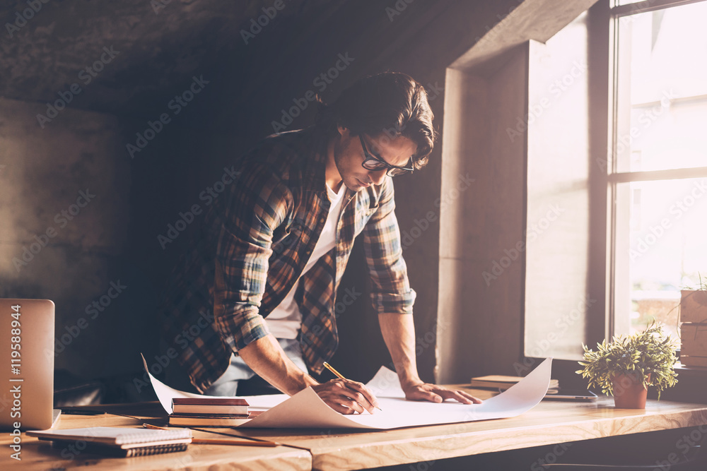 Fototapety, obrazy: Architect at work.