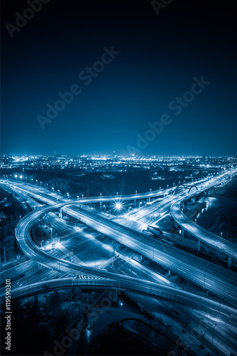 Aerial View of Shanghai overpass at Night Wallpaper Mural