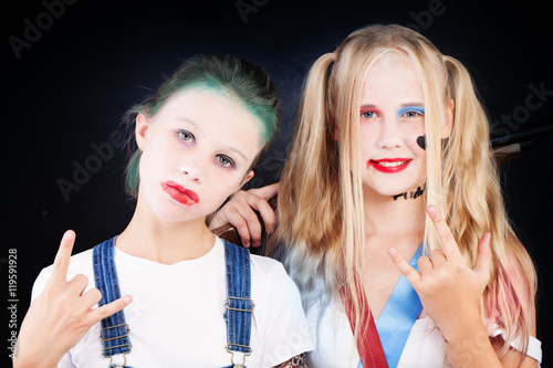 Valokuvatapetti Young Teenager Girls in Carnival Costume