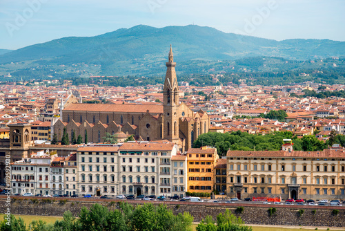 Fototapety, obrazy: Florence aerial cityscape view from Michelangelo square on the old town with Santa Croce church in Italy